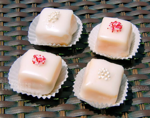 pink and white pound cake petit fours