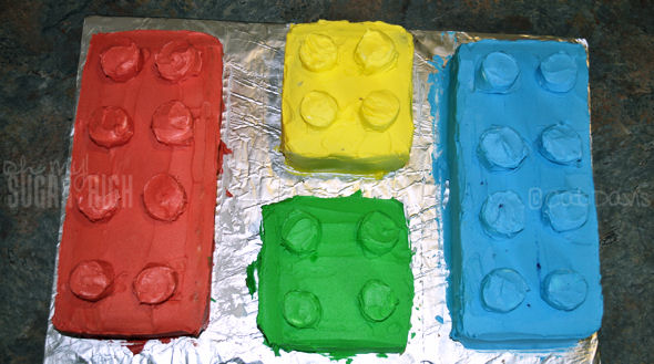 lego cake blocks top view