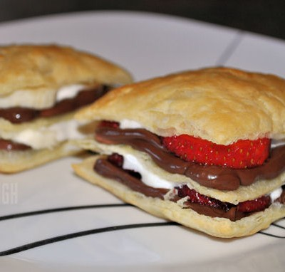 Strawberry-Banana Nutella Napoleon Dessert
