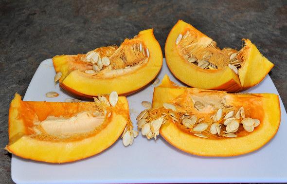 pumpkin cut in quarters