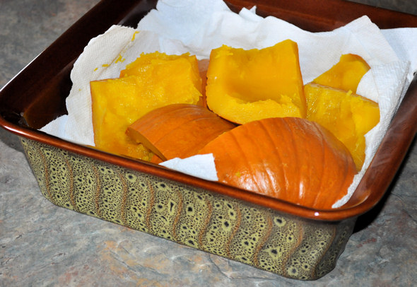 straining steamed pumpkin