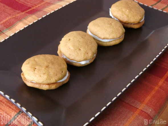 Mini Pumpkin Whoopie Pies with Cream Cheese Filling — Oh My! Sugar ...