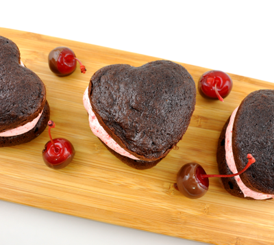 Romantic Chocolate Covered Cherry Whoopie Pies