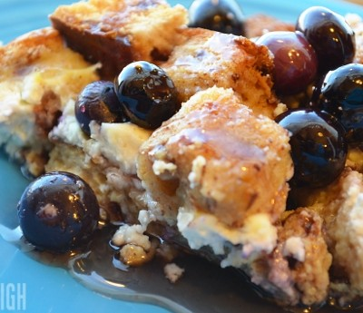 Blueberry Cream Cheese Strata for Christmas Brunch