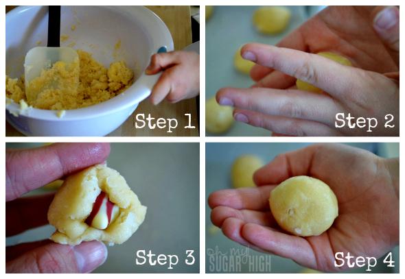 Chocolate Raspberry Love Cookies Numbered Steps