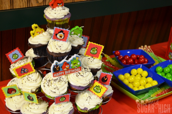 Rainbow Cupcakes Angry Birds Space Creamy Cream Cheese Frosting 6