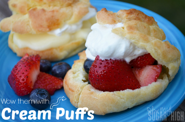 Cream Puffs Filled with Fruit Pudding Whipping Cream