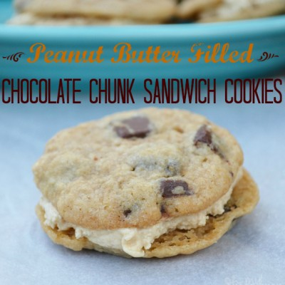 Peanut Butter Filled Hershey's Chocolate Chunk Sandwich Cookies