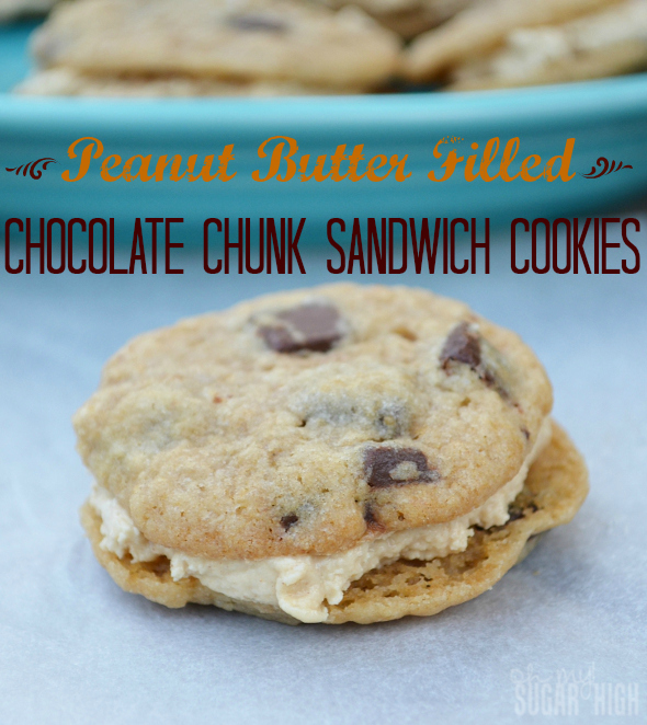 Peanut Butter Filled Chocolate Chunk Sandwich Cookies with Hersheys