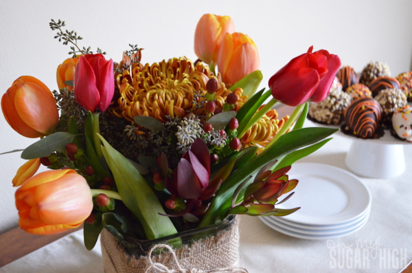 Thanksgiving Tablescape Proflowers Flowers on Buffet