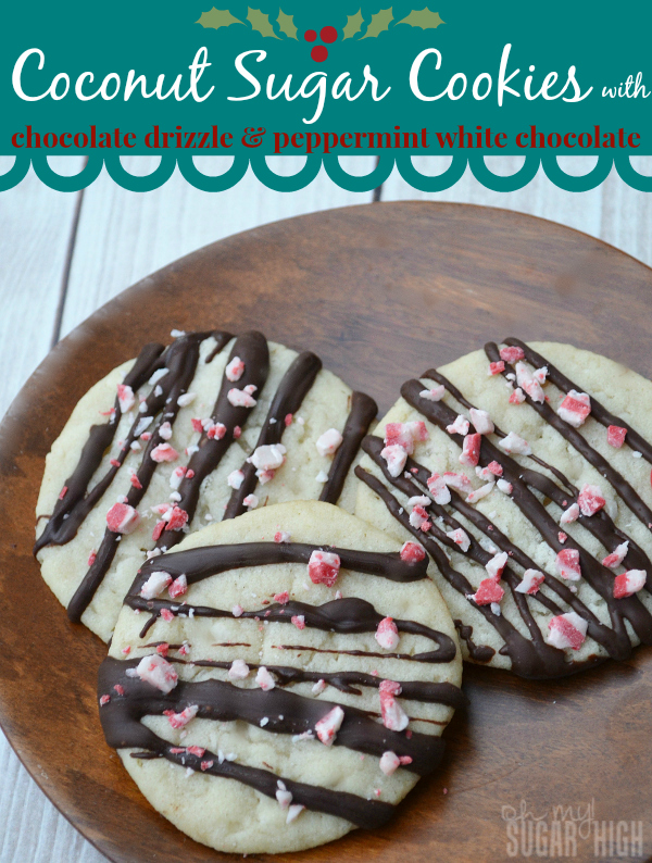 Coconut Sugar Cookies Chocolate Drizzle Peppermint