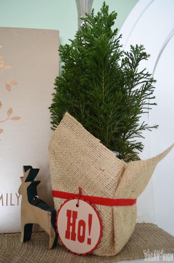 Red Envelope Mantlescape Cyprus Tree Ho Ho Ho Deer Ornament