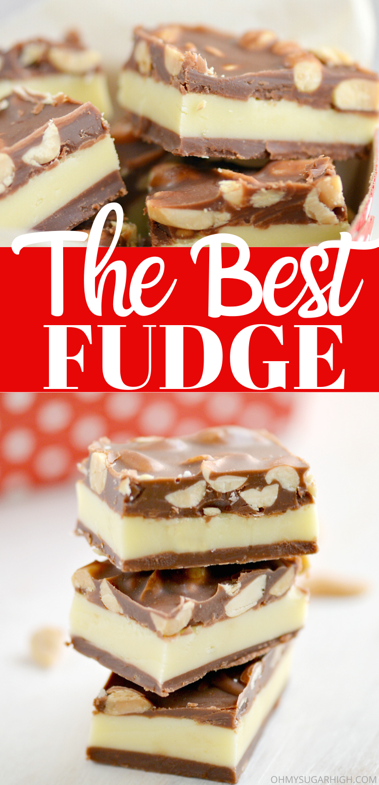 Nut goodie fudge recipe that is the best homemade fudge recipe ever! This layered fudge is hard to resist and makes a great Christmas, Valentine's Day or Easter dessert!