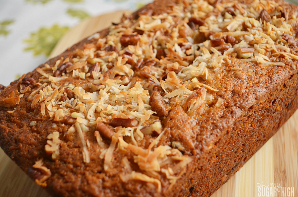 Coconut Chocolate Chip Banana Bread with topping