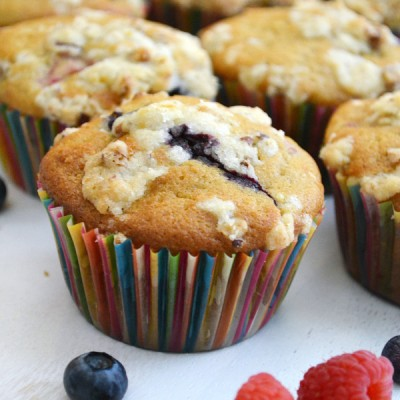 Mixed Berry Streusel Muffins with Blueberries and Raspberries