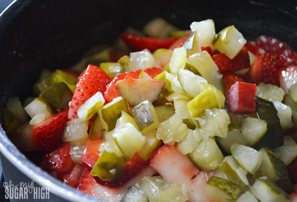 Strawberry Rhubarb Pickle Sauce Cooking