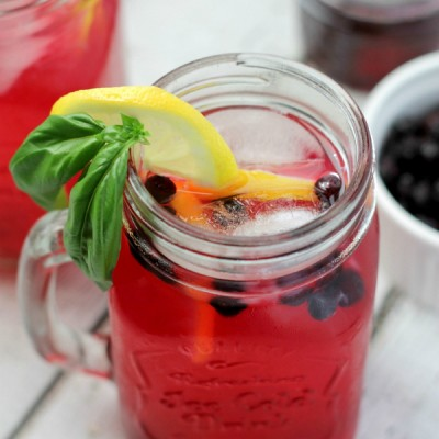 Fresh Basil Blueberry Lemonade