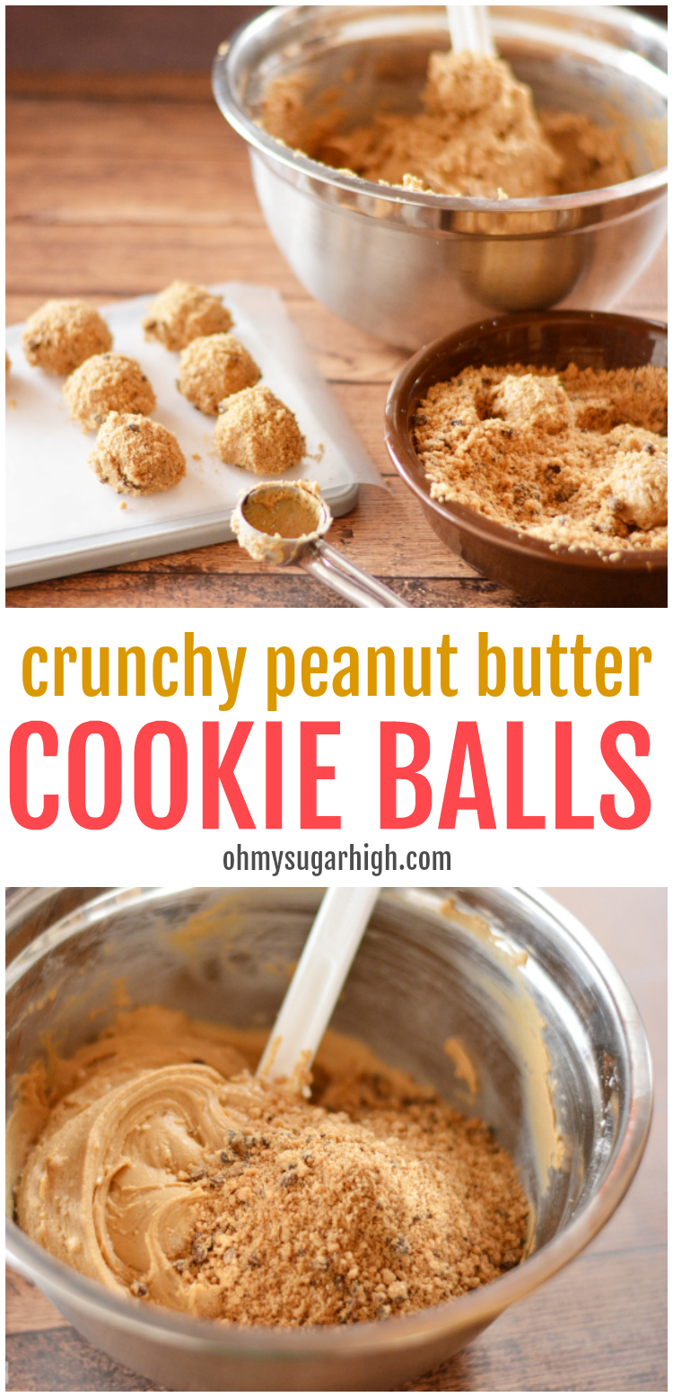 These crunchy peanut butter balls can be made quickly and easily with just three ingredients! You'll love this peanut butter cookie balls recipe!