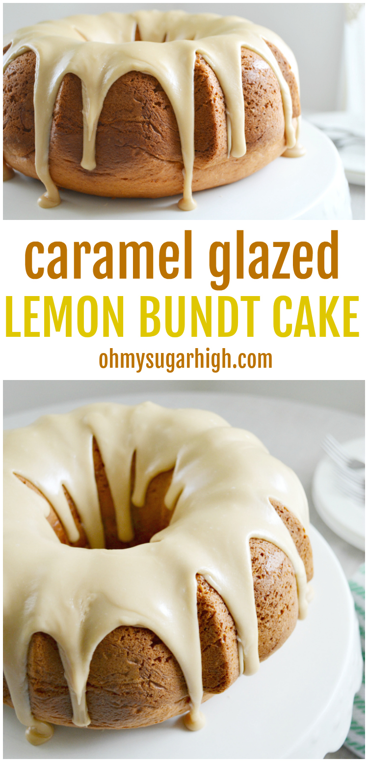 This easy lemon bundt cake recipe features a unique homemade caramel glaze that takes it to a new level but also tastes amazing on its own!