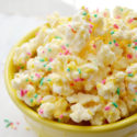 Cake batter popcorn is a super sweet and salty treat, perfect for a birthday party or as a fun Easter snack. This bunny popcorn is flavored with vanilla cake mix, coconut, melted white chocolate chips and plenty of colorful sprinkles! Whether you serve a bowl up to a crowd or hand it out as a party favor, no one can resist this cake batter popcorn!