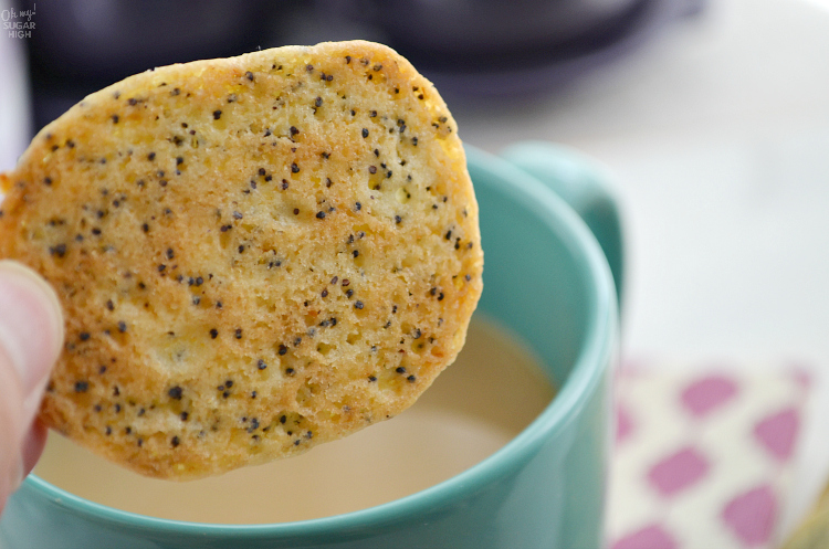 If you love a crunchy lemon cookie, you'll love these slice and bake lemon poppy seed cookies. They are loaded with flavor and perfect for dunking in tea or coffee!