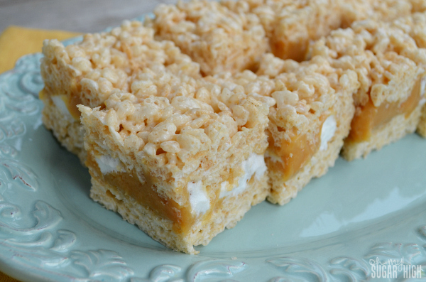 Layered Caramel Rice Krispie Bars