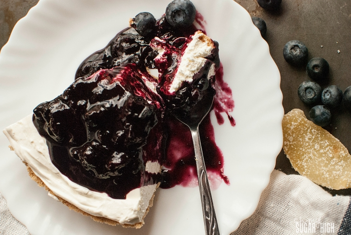 Easy Cheesecake with Blueberry Ginger Sauce
