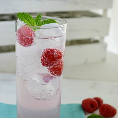 Raspberry Sparkling Water with Raspberry Simple Syrup