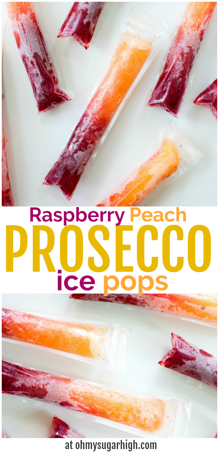 Cool off this summer with these Raspberry Peach Prosecco Ice Pops! Perfect for a hot day, these boozy ice pops are sure to add some sparkle to your day!