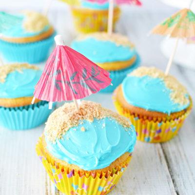 Easy Beach Birthday Cupcakes