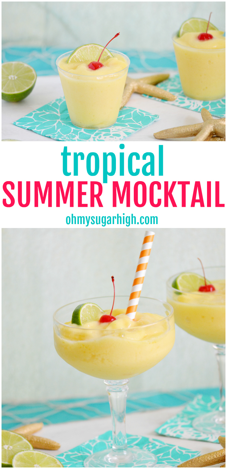 Cool off with this blended mocktail. This tropical non-alcoholic summer drink is perfect for all ages and includes mango, pineapple and coconut. Serve it at your next celebration including pool parties and summer cookouts. So good and refreshing! #summer #summerdrinks #frozendrink #mocktail #drinkrecipes #blender