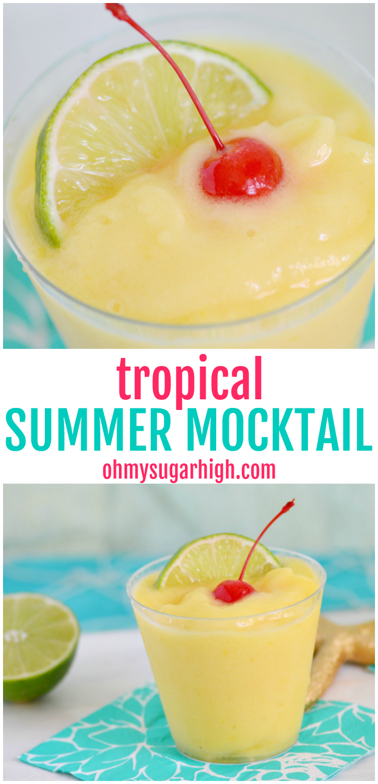 Cool off with this blended mocktail. This tropical non-alcoholic summer drink is perfect for all ages and includes mango, pineapple and coconut. Serve it at your next celebration including pool parties and summer cookouts.#summer #summerdrinks #frozendrink #mocktail #drinkrecipes #blender #bbq #cookout