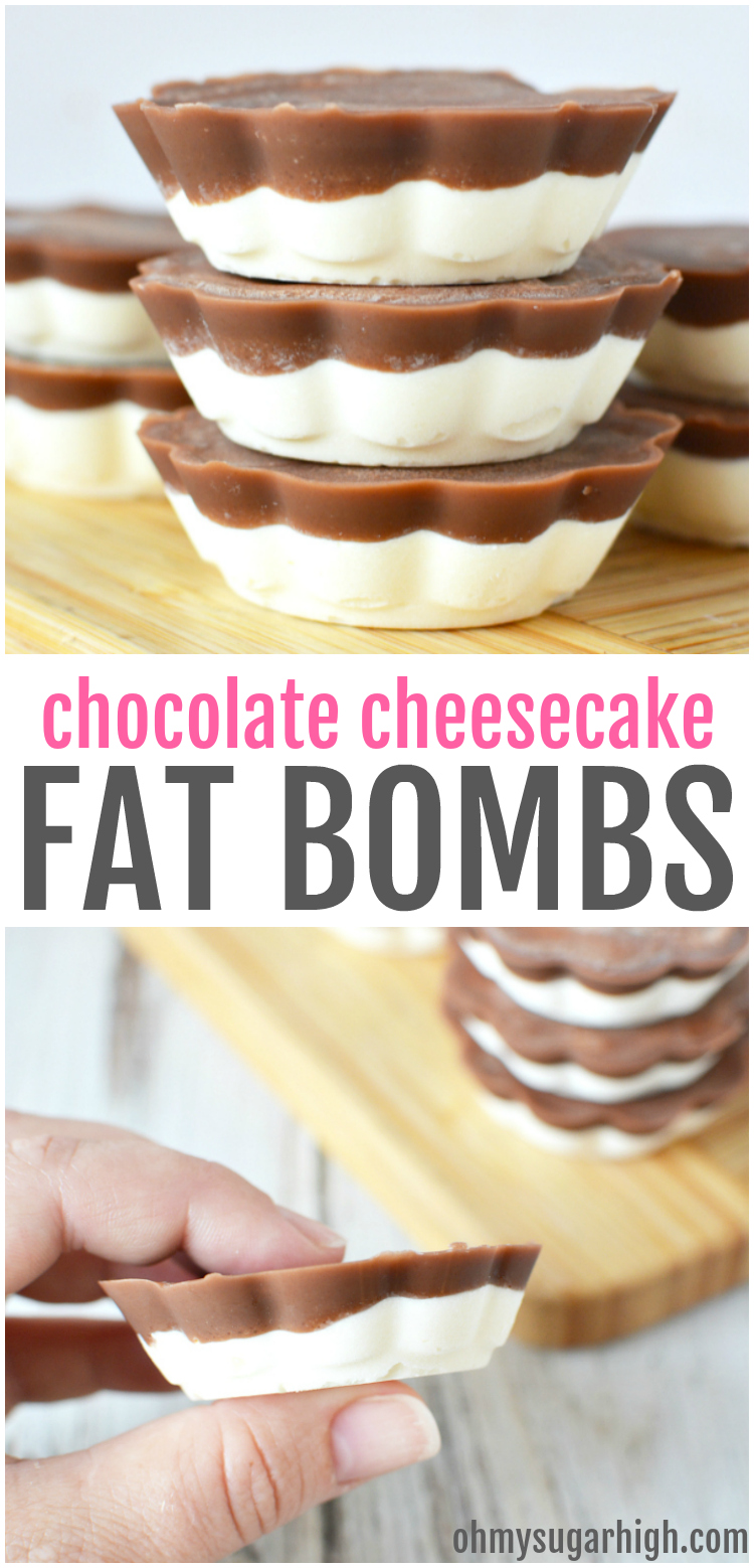 This chocolate cheesecake fat bomb recipe is the perfect way to help you maintain your keto lifestyle! Made with coconut oil, you'll love this two layered keto fat bomb with cream cheese to have on hand for a tasty snack when you need it most.
