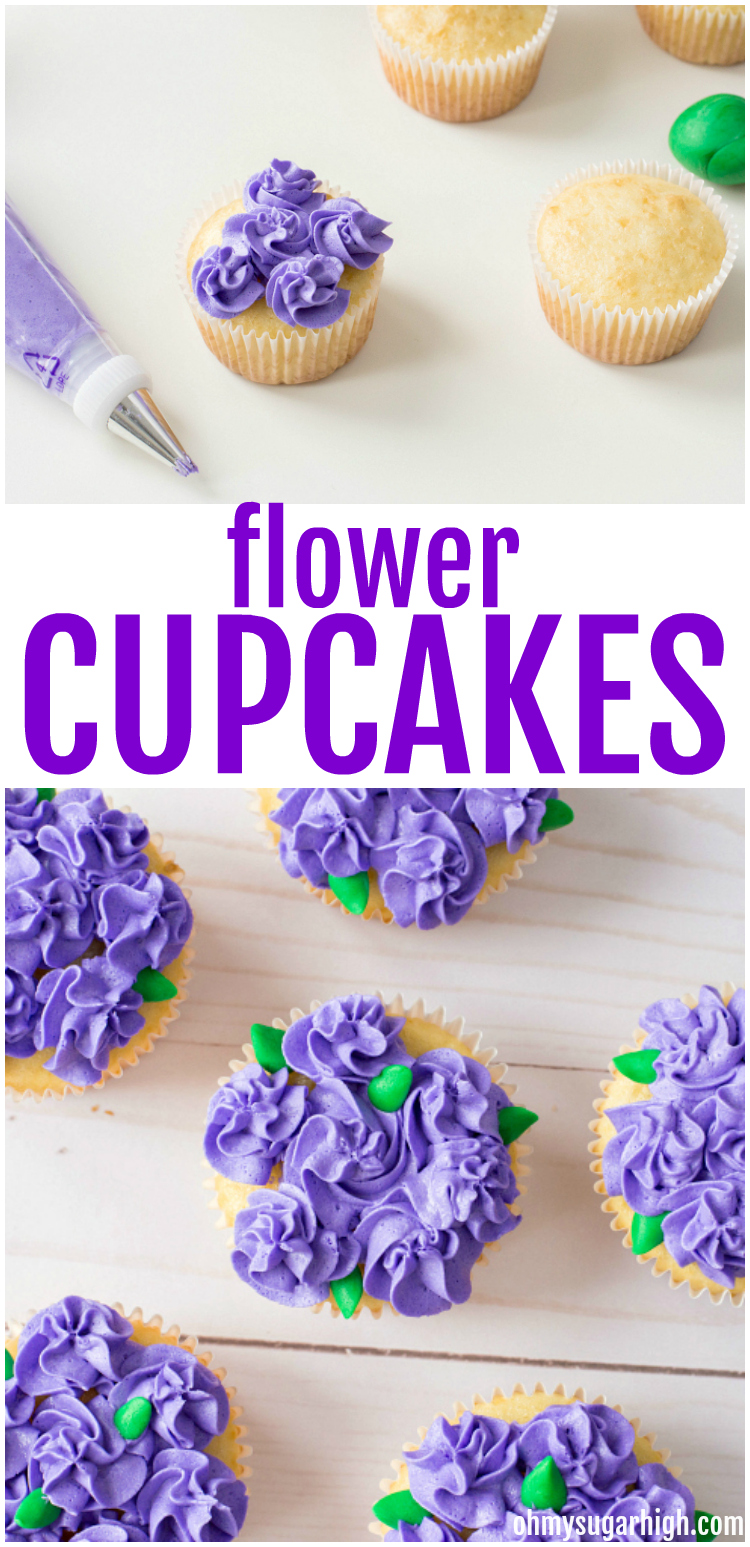 flower cupcakes with purple buttercream