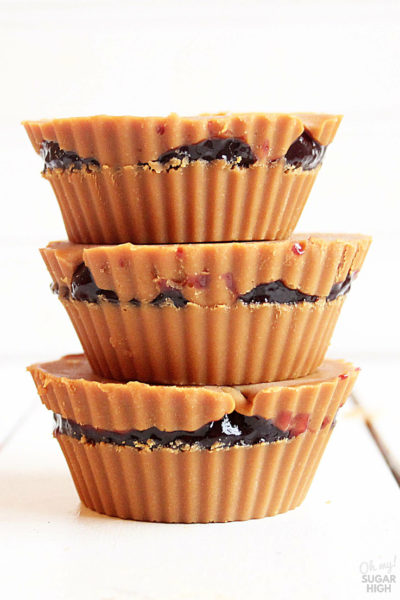 peanut butter and jelly cups made with wowbutter