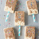 pool party cereal treats with chocolate frosting and sprinkles to look like a popsicle