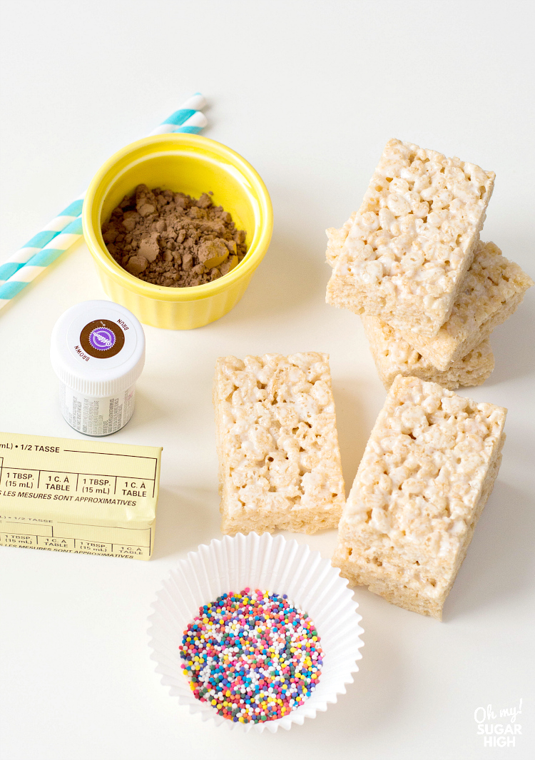 ingredients to make cereal treats on a stick