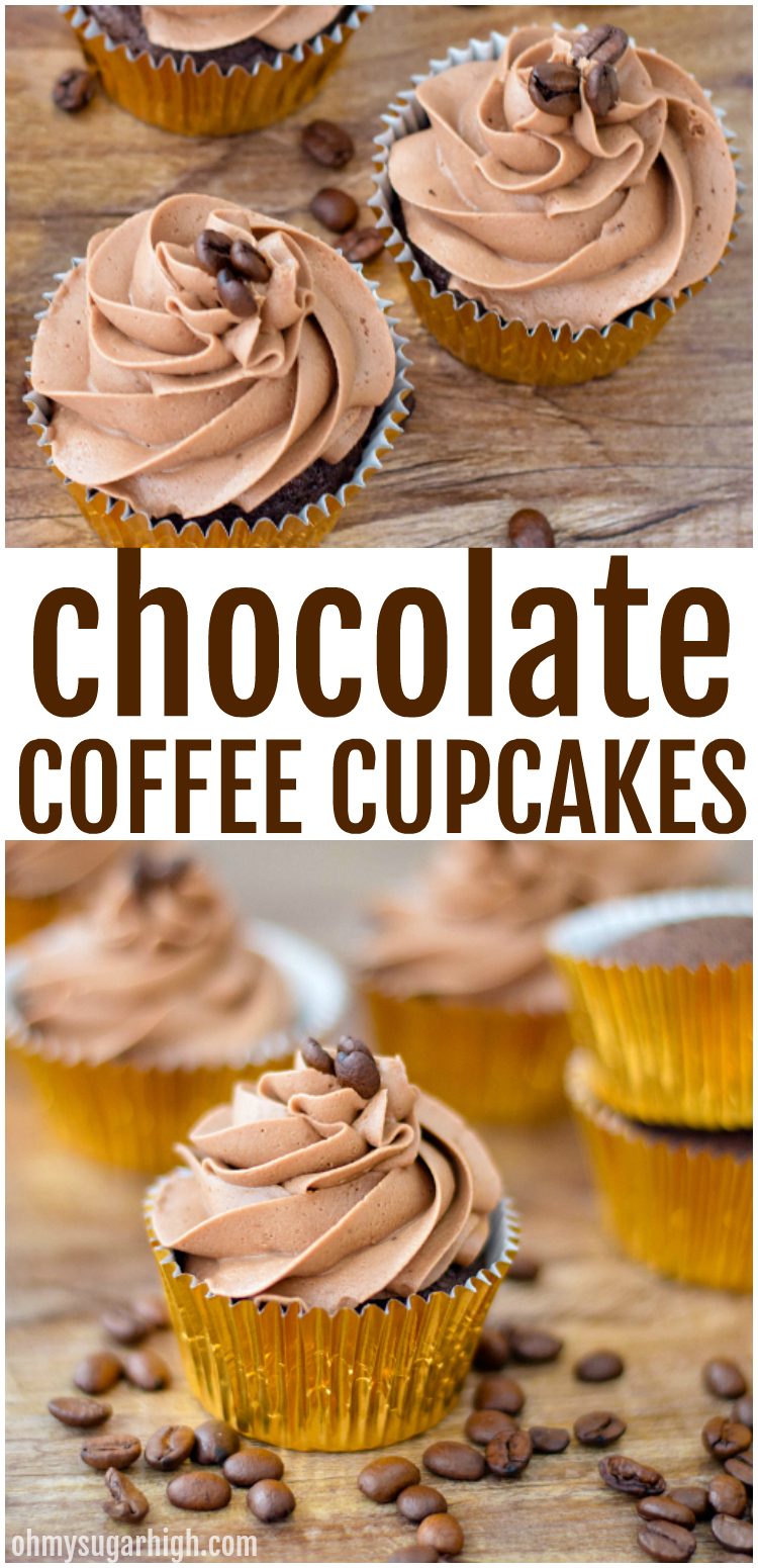 Love coffee? You'll love these chocolate coffee cupcakes with mocha frosting! This chocolate cupcake recipe from scratch features a subtle coffee flavor while the mocha buttercream frosting offers a second shot of that delicious chocolate coffee combination. No coffee lover will be able to resist this delicious mocha cupcake!