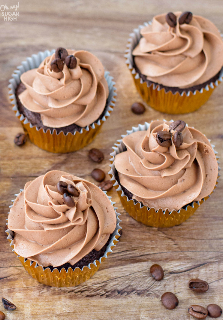 Homemade chocolate coffee cupcakes with mocha frosting