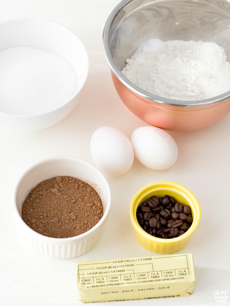 Ingredients needed for chocolate cupcakes from scratch