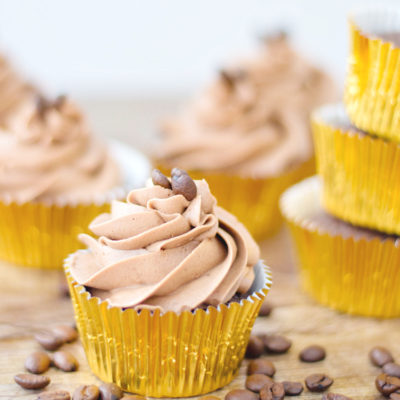 Coffee cupcakes from scratch with mocha buttercream frosting.