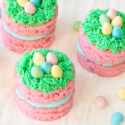 Wondering what to make for Easter dessert? Try these adorable mini Easter cakes with chocolate eggs and green grass. These colorful pink cakes are sure to brighten up any dessert table this spring!
