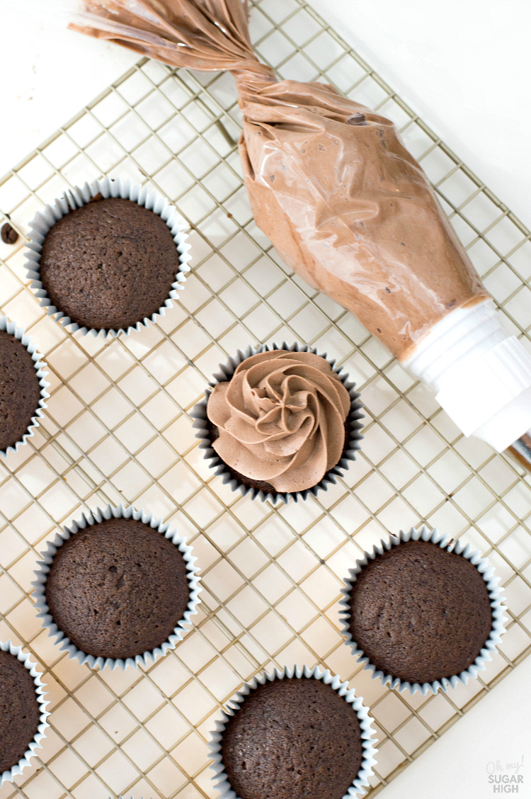 Mocha buttercream frosting on chocolate coffee cupcakes