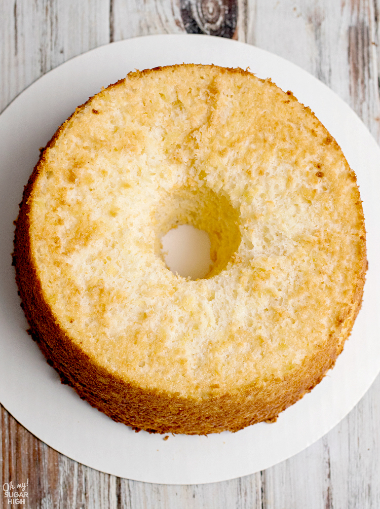 This pineapple angel food cake is only 160 calories per serving and only requires two ingredients!