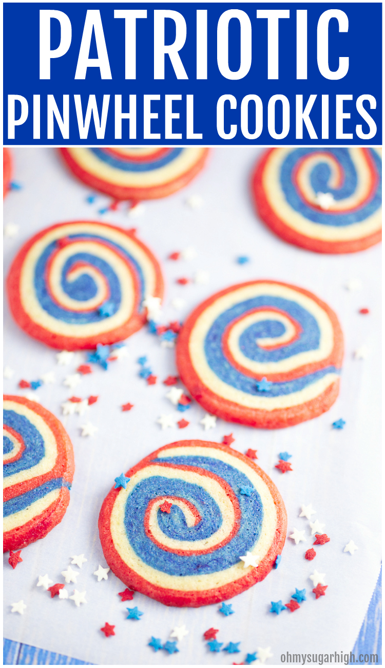 Patriotic pinwheel cookies are the perfect red, white and blue dessert for your holiday celebrations. These pinwheel cookies feature layered sugar cookie dough that is rolled with parchment paper, chilled and sliced before baking. If you want beautiful 4th of July cookies that are easy to transport and serve, try this soft pinwheel cookie recipe!