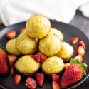 Pancake muffins made from scratch served with fresh strawberries