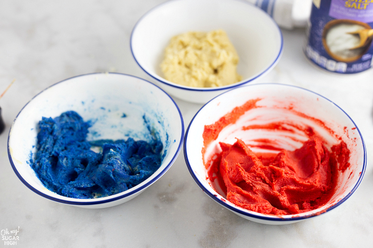 Red White and Blue Pinwheel Cookie Dough in Bowls