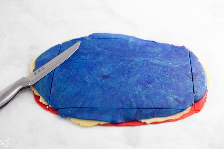 Trimming Pinwheel Cookie Dough