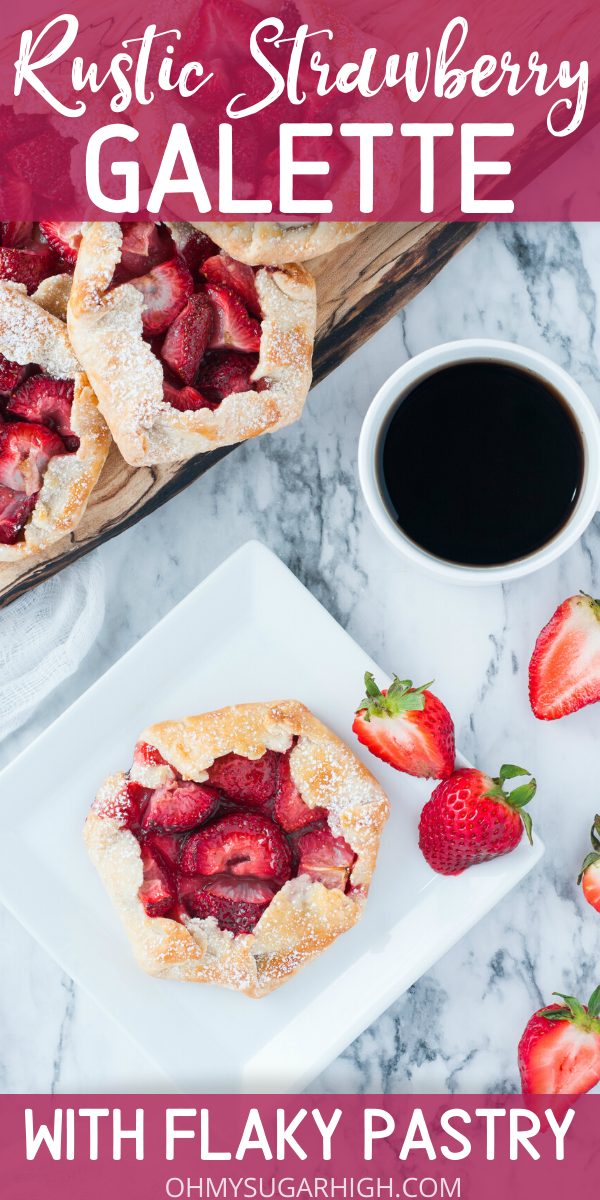 Rustic Strawberry Galette is a dessert recipe you must try! The flaky, homemade is much easier to make than you might think and the fresh fruit filling is a great way to use up extra strawberries! Give these mini pies a try for dessert at your next dinner party or to make any day more special!