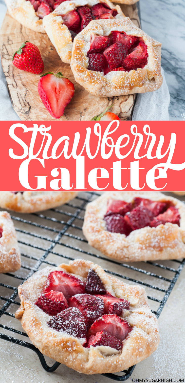 Strawberry Galette in mini form is a great dessert idea! This is the best way to enjoy homemade pie with a homemade rustic crust. The secret ingredient in the pastry dough makes for a super flaky crust.